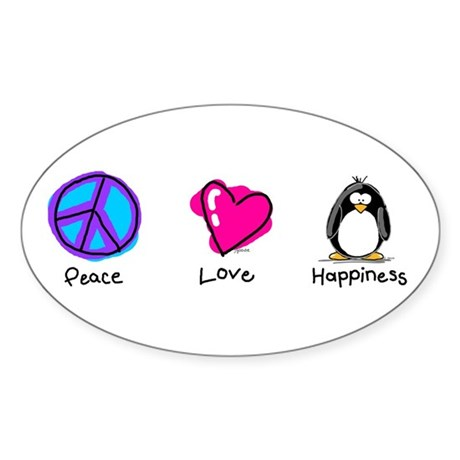 Peace Love and Penguins Oval Sticker
