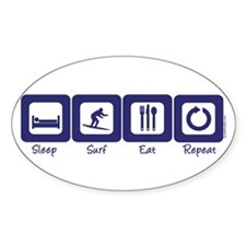 Sleep- Surf- Eat- Repeat Oval Decal
