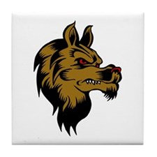 Brown Wolf Face Tile Coaster