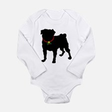 Pug Silhouette Baby Suit