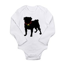 Pug Silhouette Long Sleeve Infant Bodysuit