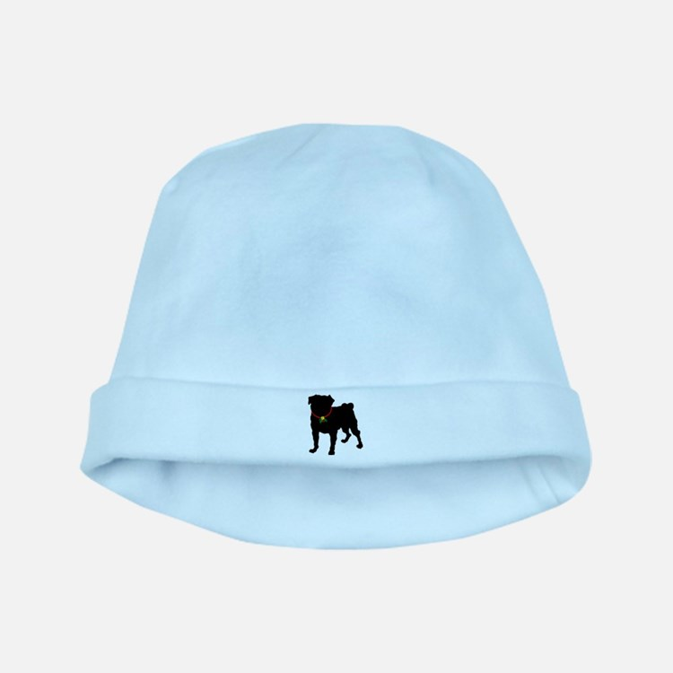 Pug Silhouette baby hat