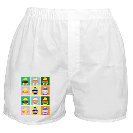 Pop Art Sock Monkeys Boxer Shorts