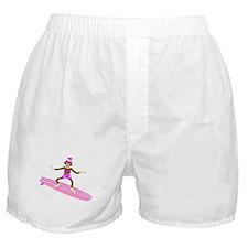 Sock Monkey Surfer Girl Boxer Shorts