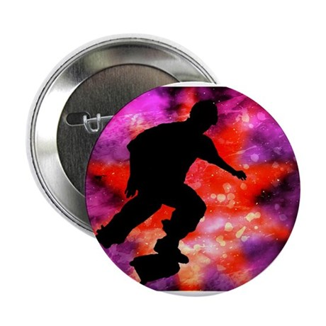 "Skateboarder in Cosmic Clouds 2.25"" Button"