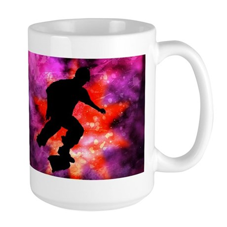 Skateboarder in Cosmic Clouds Large Mug