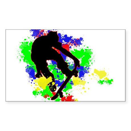 Graffiti Paint Splotches Skat Sticker (Rectangle)