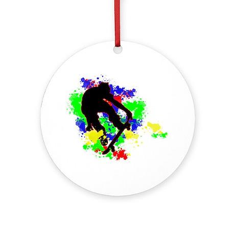 Graffiti Paint Splotches Skat Ornament (Round)