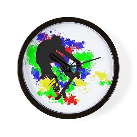 Graffiti Paint Splotches Skat Wall Clock