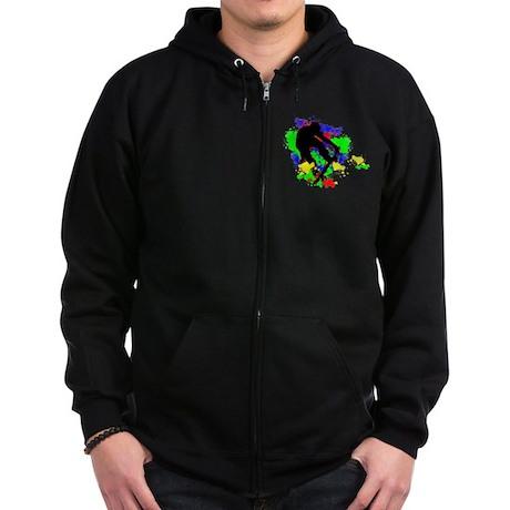 Graffiti Paint Splotches Skat Zip Hoodie (dark)