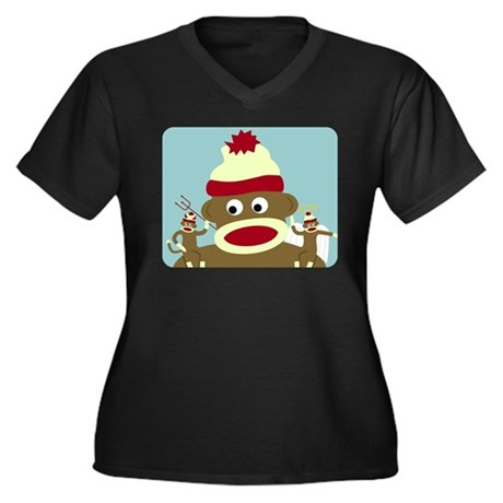 Sock Monkey Angel & Devil Women's Plus Size V-Neck