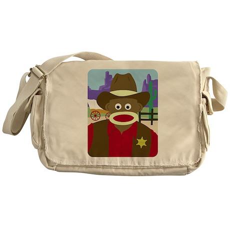 Sock Monkey Cowboy Messenger Bag