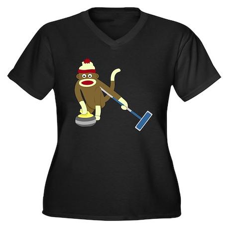 Sock Monkey Curling Women's Plus Size V-Neck