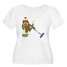 Sock Monkey Curling Women's Plus Size T-Shirt