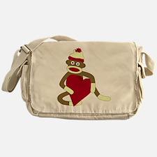 Sock Monkey Heart Messenger Bag
