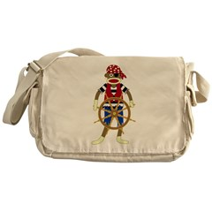 Sock Monkey Pirate Messenger Bag