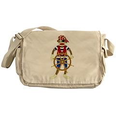 Sock Monkey Pirate Messenger Bag