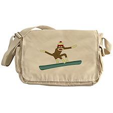 Sock Monkey Snowboarder Messenger Bag