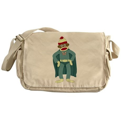 Sock Monkey Superhero Messenger Bag