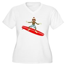 Sock Monkey Surfer Womens Plus Size V-Neck T-Shirt