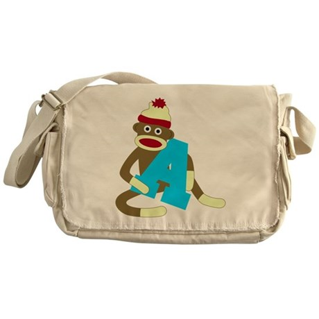 Sock Monkey Monogram Boy A Messenger Bag