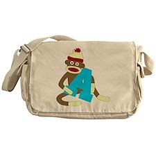 Sock Monkey Monogram Boy A Messenger Bag