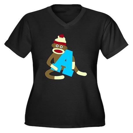 Sock Monkey Monogram Boy A Women's Plus V-Neck