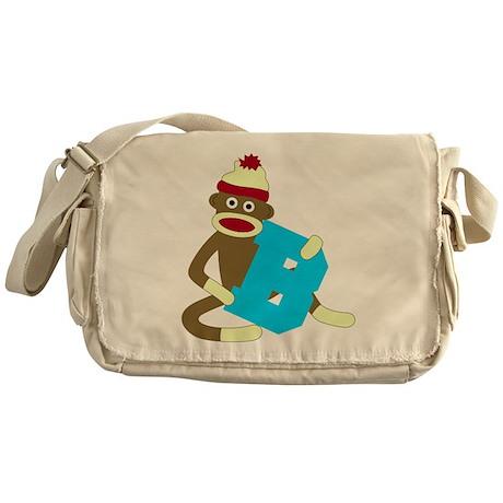 Sock Monkey Monogram Boy B Messenger Bag
