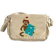 Sock Monkey Monogram Boy H Messenger Bag