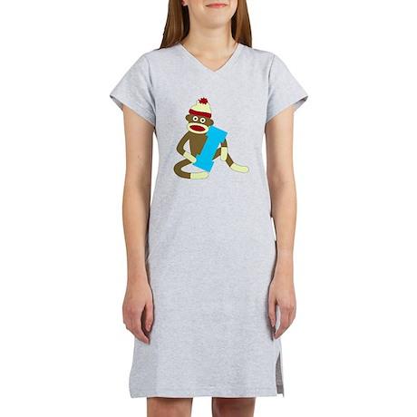 Sock Monkey Monogram Boy I Women's Nightshirt
