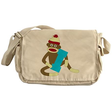 Sock Monkey Monogram Boy I Messenger Bag