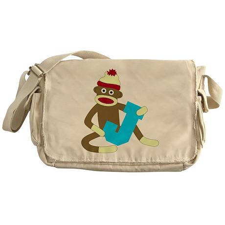 Sock Monkey Monogram Boy J Messenger Bag