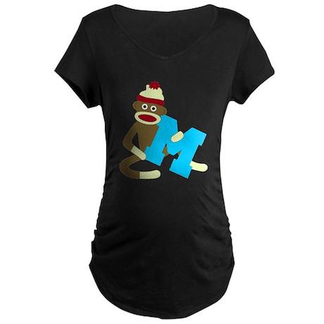 Sock Monkey Monogram Boy M Maternity Dark T-Shirt