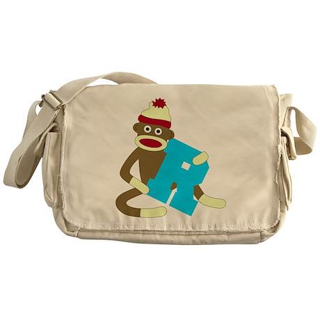 Sock Monkey Monogram Boy R Messenger Bag