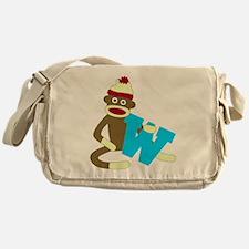 Sock Monkey Monogram Boy W Messenger Bag