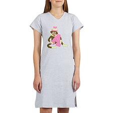 Sock Monkey Monogram Girl A Women's Nightshirt