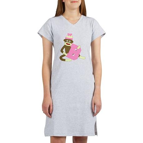 Sock Monkey Monogram Girl B Women's Nightshirt