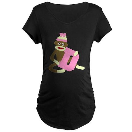 Sock Monkey Monogram Girl D Maternity Dark T-Shirt