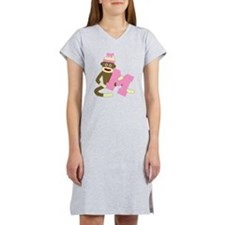 Sock Monkey Monogram Girl M Women's Nightshirt