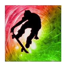 Skateboarder in a Psychedelic Tile Coaster