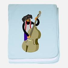 Dachshund Bass Player baby blanket