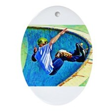 Skateboarding in the Bowl Ornament (Oval)