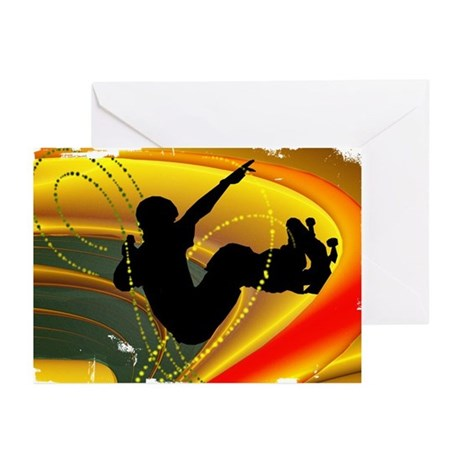 Skateboarding in the Bowl Sil Greeting Cards (Pk o