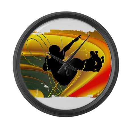 Skateboarding in the Bowl Sil Large Wall Clock