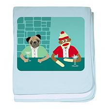 Pug & Sock Monkey baby blanket