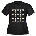 Martini Pop Art Women's Plus Size V-Neck T-Shirt