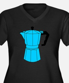 Moka Espresso Coffee Pot Women's Plus Size V-Neck