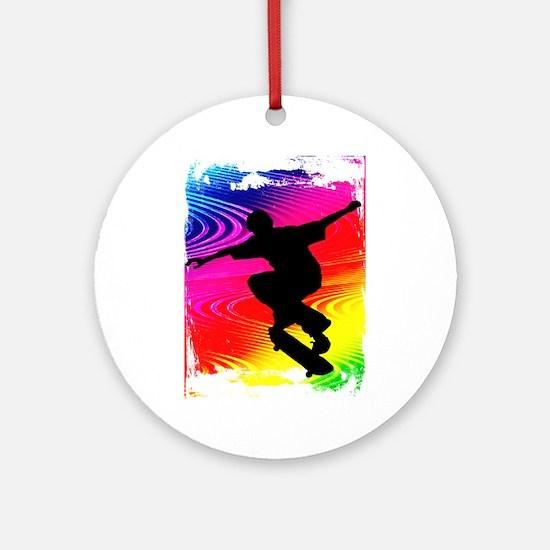 Rainbow Grunge Skateboarder Ornament (Round)