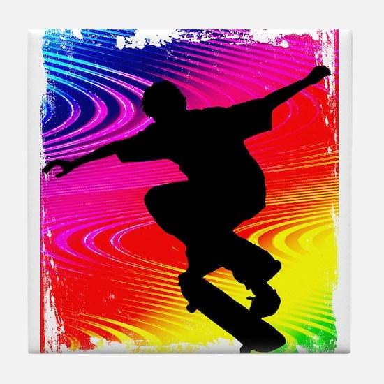 Rainbow Grunge Skateboarder Tile Coaster