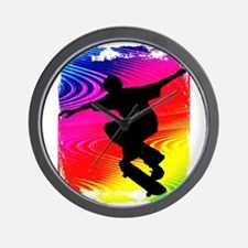 Rainbow Grunge Skateboarder Wall Clock